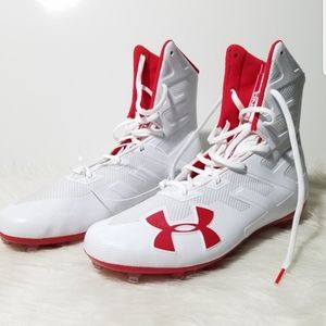 Under Armour White Red Football Cleats 12.5